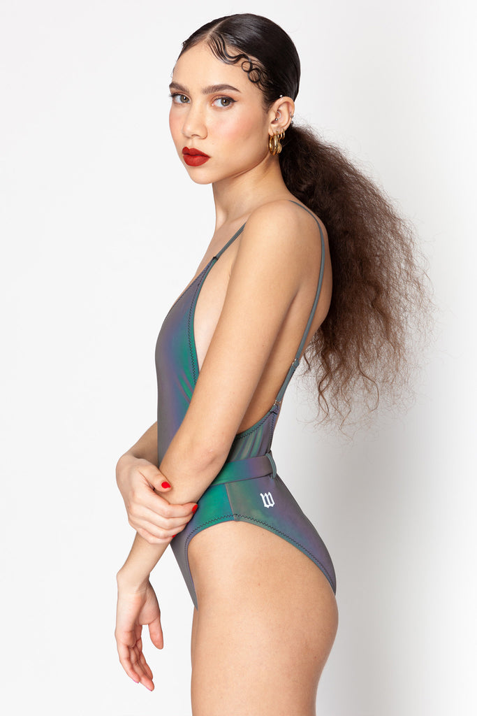 Rainbow Reflective One Piece Swimsuit
