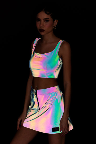 Rainbow Reflective Half Zip Skirt