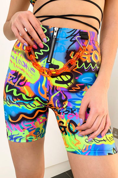 Graffiti Biker Shorts