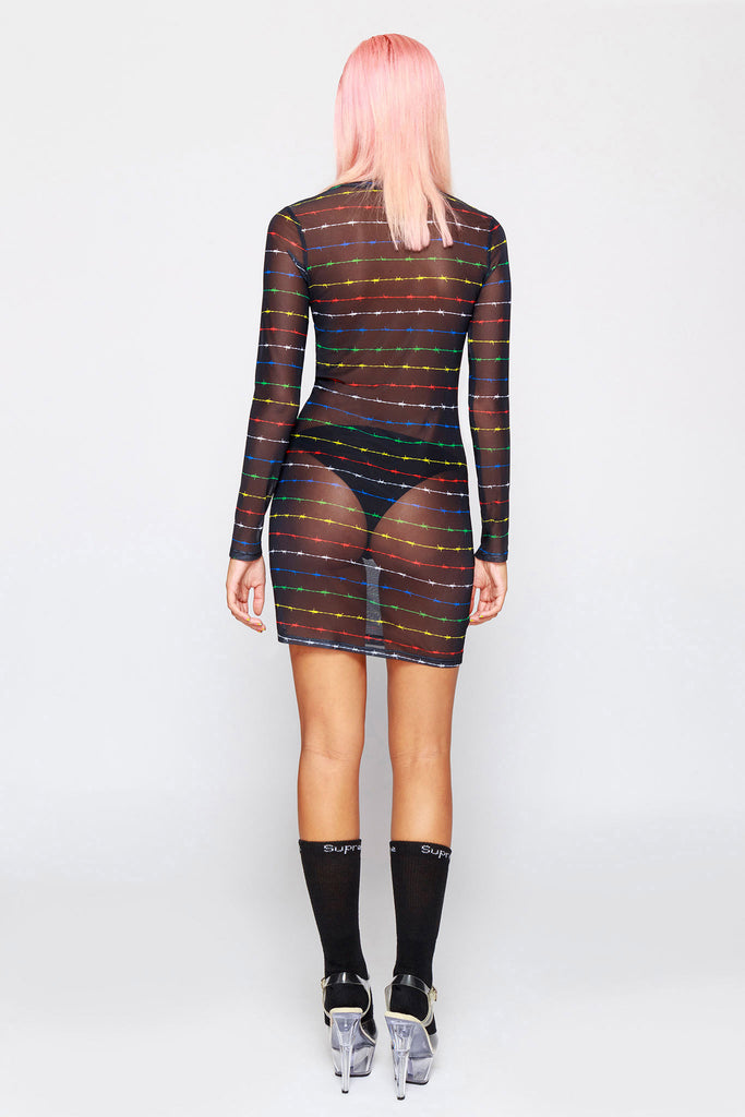 90's Barbwire Rainbow Mesh Dress
