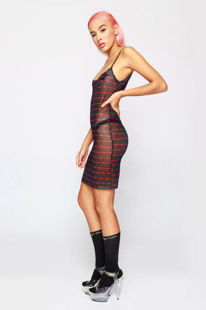 90's Barbwire Strap Mesh Dress