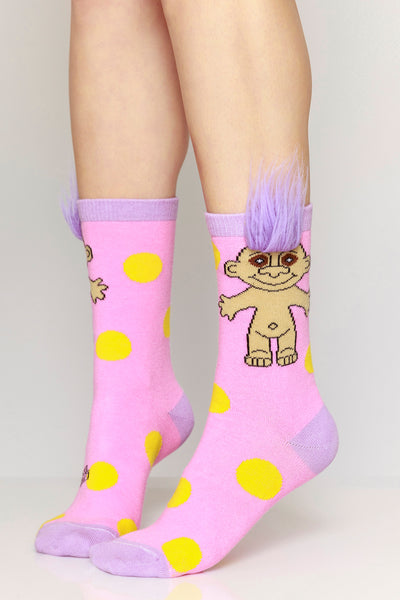 Pink Polka Party Troll Socks