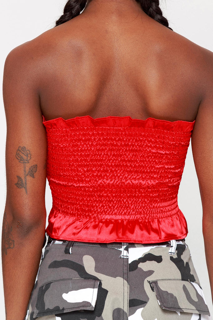Satin Ruched Frill Bandeau Top Red
