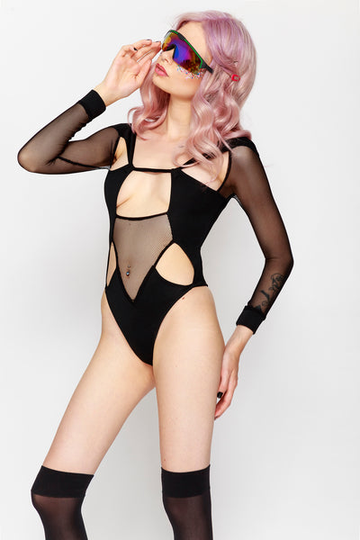 Mesh Cutout Body Black