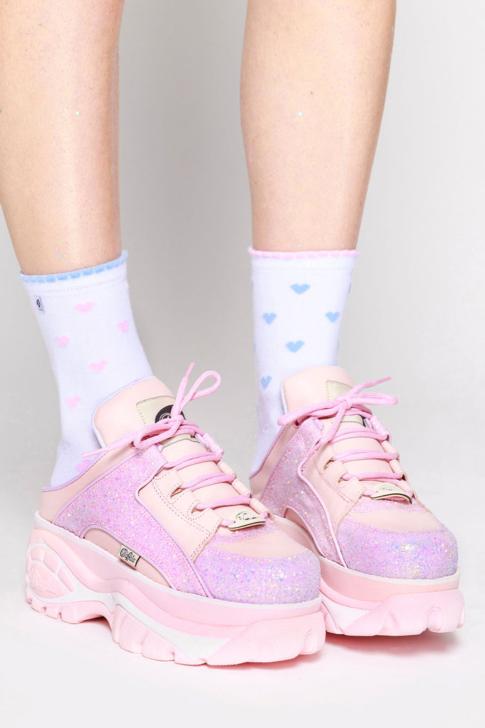 Pink Backless Platform Sneakers Glitter Glitter Backless Pink xIq0fE