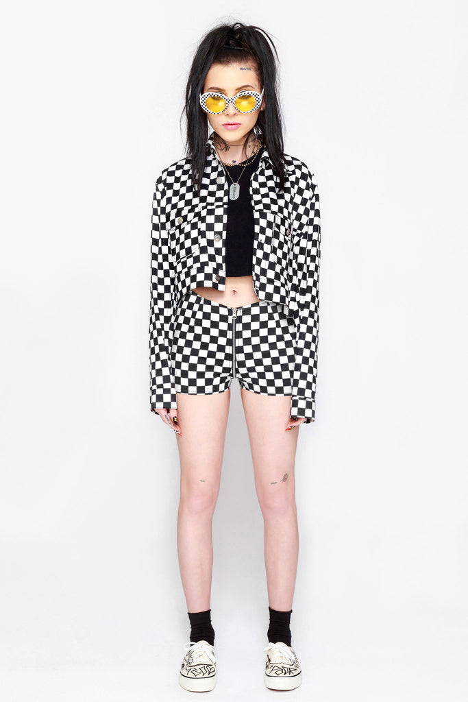 Checkered Life Full Zip Shorts