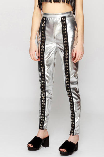 Metallic PU Leggings