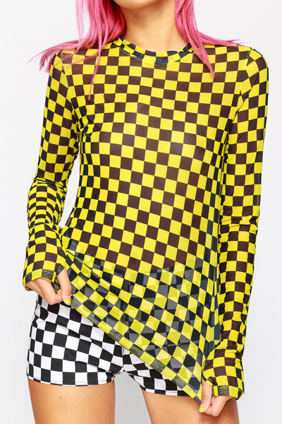 Checkered Past Mesh Top