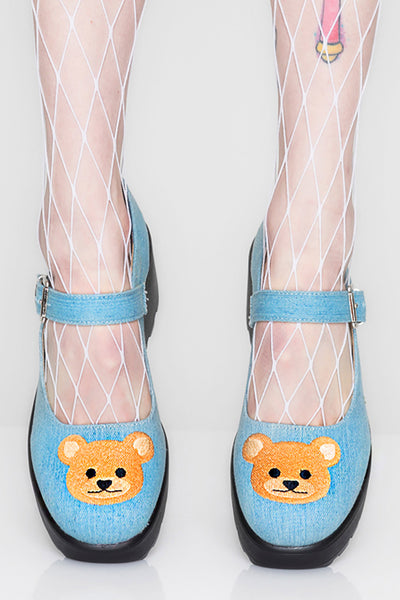 Bear-y Cute Denim Mary Janes
