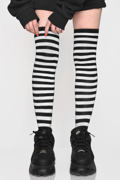 Emo Bish OTK B&W Striped Socks