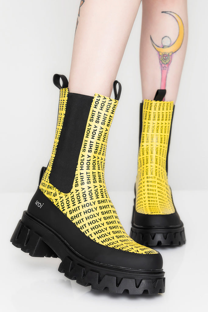 Holy Yellow Chelsea Boots