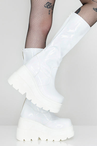 Cosmic Angel White Holo Boots
