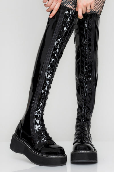 Slick Behavior Knee High Lace Up Vinyl Boots