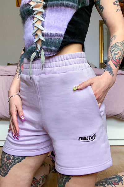 I Just Wanna Sweat Shorts Lavender