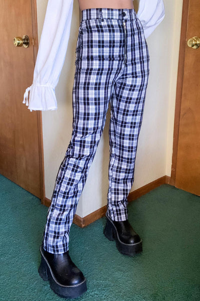 High Waisted Plaid Flares
