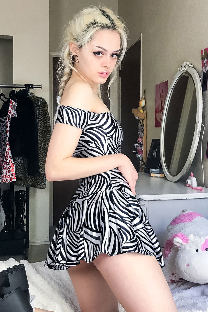 Train Supreme Zebra Off Shoulder Skater Dress