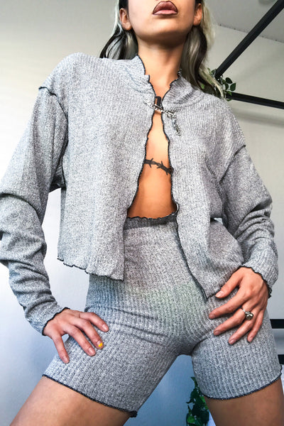 Safety Pin Knit Cardigan Grey