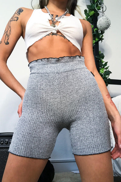 Knit Biker Shorts Grey