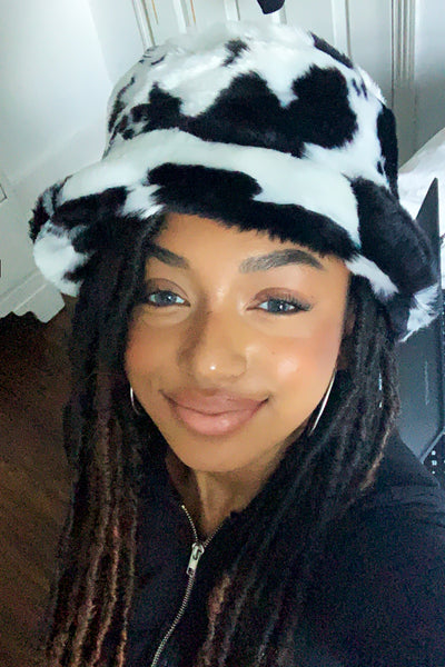 Retro Cow Fluffy Bucket Hat