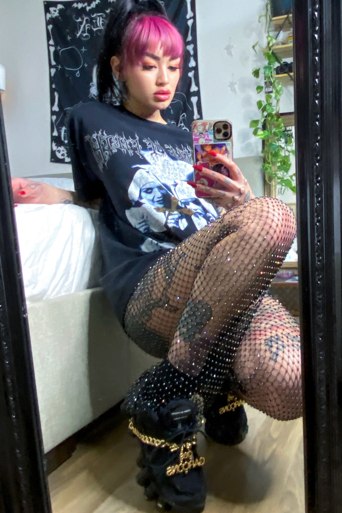 Wrapped In Diamante Fishnet Flares Set