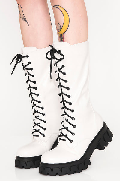White Trinity Patent Boots