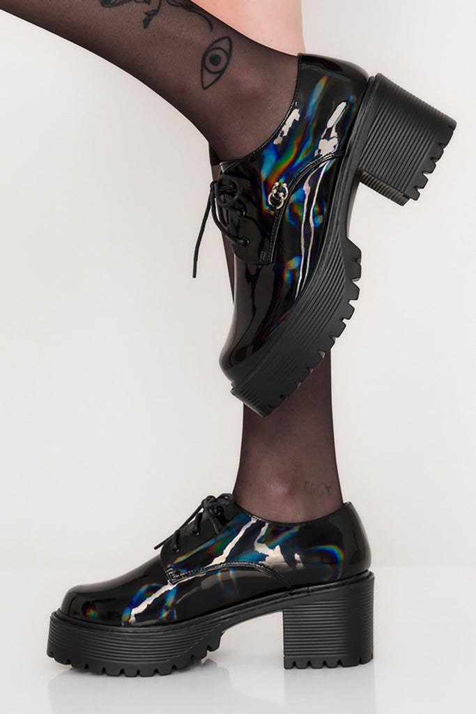 Pierced Hologram Platform Oxfords