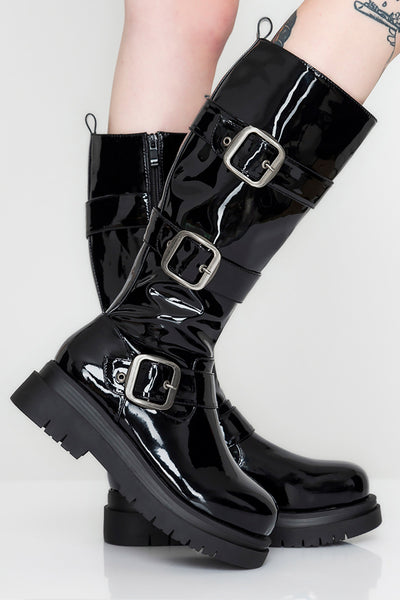 Going Bad Vinyl Knee High Boots
