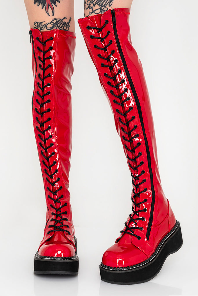 Hot Behavior Knee High Lace Up Vinyl Boots