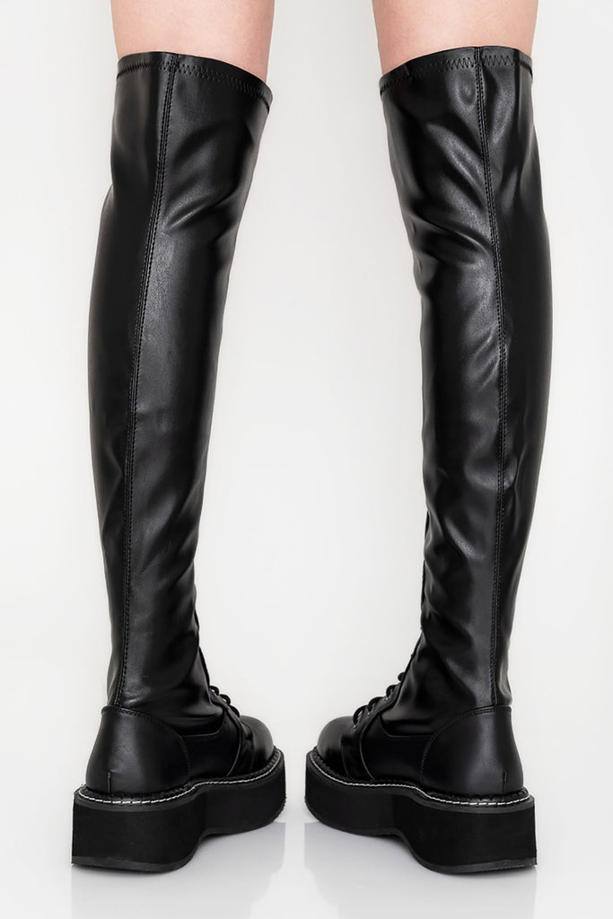 Bad Behavior Knee High Lace Up Boots