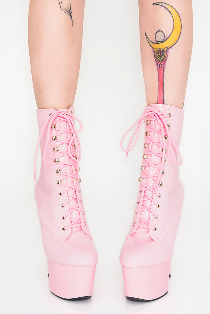 Sweet Like Candy Lace-Up Platform Heels