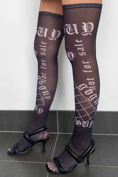 Mesh Thigh High Socks