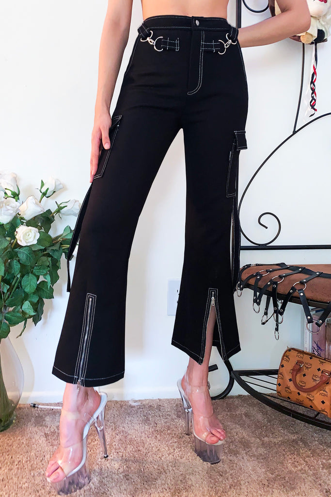 High Waist Zip Cargo Pants