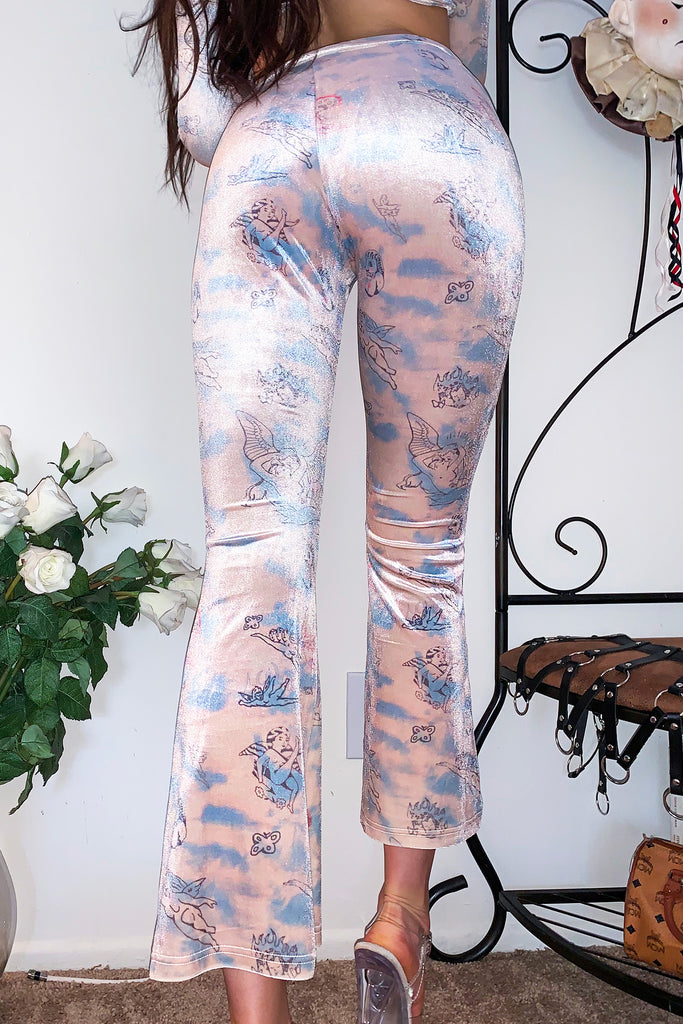 Velvet Angel Tattoo Flare Pants