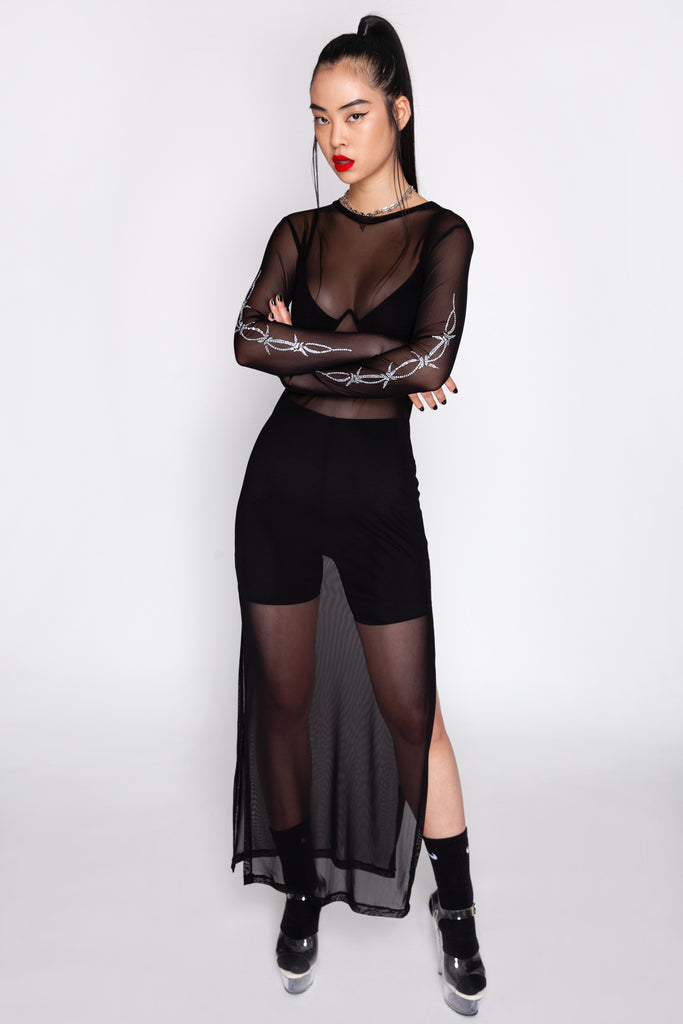 Don't Touch Barbwire Maxi Mesh Dress