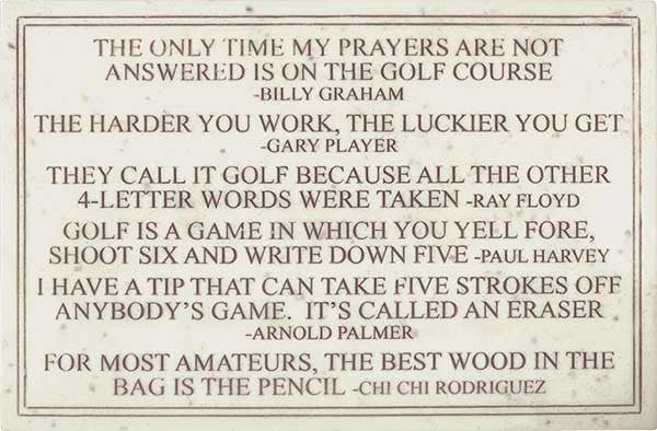 Golf Quotes <BR> 5.75H x 8.75W x 0.25D