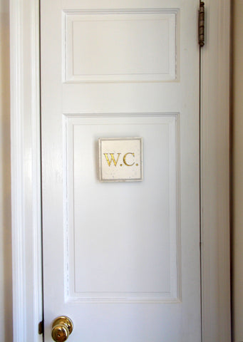 Plaque/Sign: W.C. (Water Closet)<BR>5.25H 5.25W 0.25D