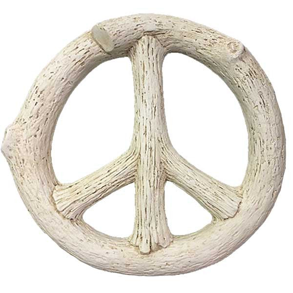 Faux Bois Peace Sign <BR> 14.25W x 13.5H x 2.75D