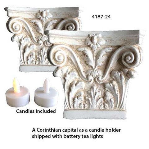 Corinthian Capital Candle Holder <BR> 4H x 5W x 5D