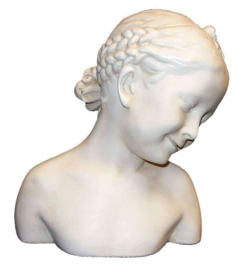 Bust: Child with Braids <BR> 13.25H x 10.25W x 7D