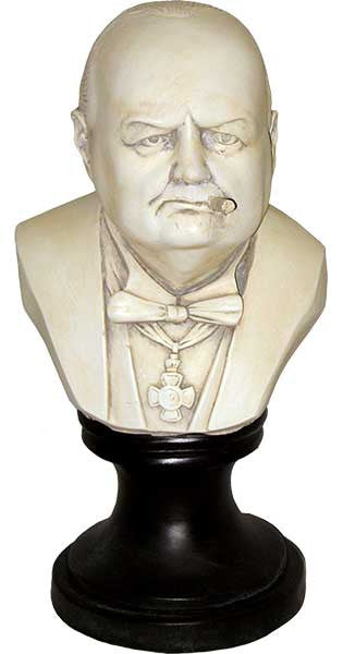 Sir Winston Churchill with Cigar <BR> 12H x 6.5W x 6D