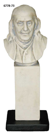 Benjamin Franklin on Pedestal <BR> 11H x 3.5W x 3.5D