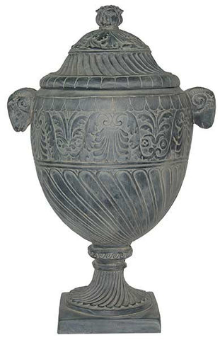 French Urn with Lid and Handles <BR>  28H x 18W x 8.5SQBS
