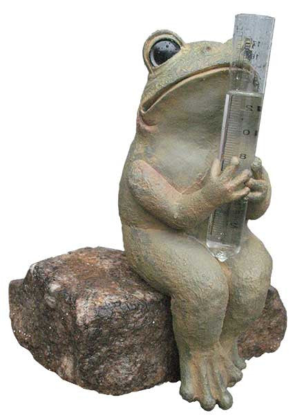 Frog Sitting with Rain Gauge <BR> 12.50H x 7W x 5.5D