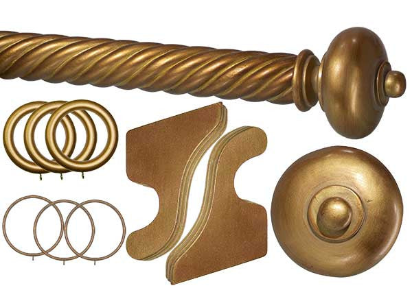 Wood Drapery Spiral Pole Set - 2in dia.  with Royal Anastasia Finials