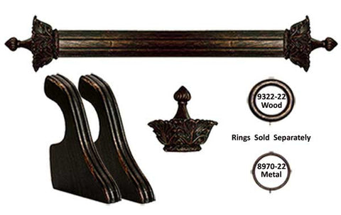 Wood Drapery Pole Set  2in. Dia Pole with Devonshire Finials in Antique Bronze
