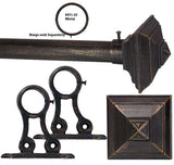 1in Adjustable Metal Rod Sets in Black with Square Architectural Finials in Black