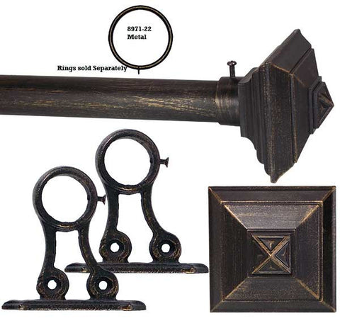 1in Adjustable Metal Rod Sets In Black With Square Architectural Finials In  Black ...