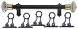 1in Adjustable Metal RodSet in black with Ultimate Clear Glass Finials
