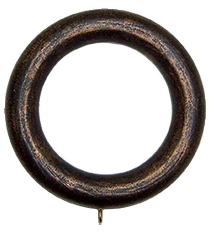 "Wood Drapery Rings for  2"" - 2.25"" poles - Set of 7 in 4 Colors"