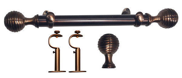 Adjustable Metal Drapery Rod Set In Cabernet with Concentric Circles Finials